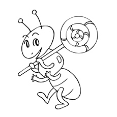 ant holding lollipop coloring - Lollipop Coloring Pages Printable