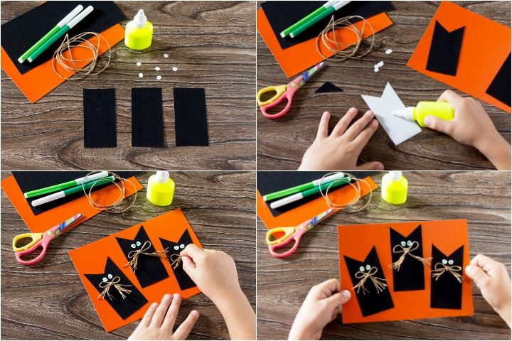 Black cat Halloween greeting card