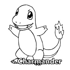 Cute Charmander of Pokemon Coloring Sheet
