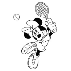 Minnie Mouse Enjoys Badminton Printables To Color