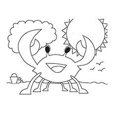 Beach Friendly Cute Crab Coloring Pages