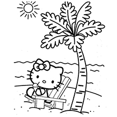 Adventurous Beach Girl Coloring Pages Hello Kitty Scene
