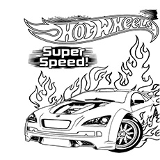 hot wheels super speed coloring page for kids
