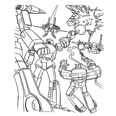 Transformers Fighting Duirng The War Coloring Pages