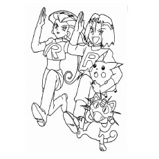Coloring Pages of James and Jessie of Pokemon Running with Pikachu