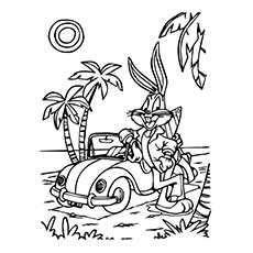 Coloring Pages of Bugs Bunny Looney with Car
