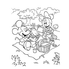 Mickey And Minnie On A Picnic Picture To Color