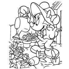 Disney Minnie Mouse Watering Plants Coloring Page To Print