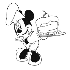 Image of Minnie Mouse Baking Cake to Color