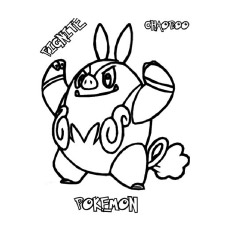 Coloring Sheet of Pignite Pokemon