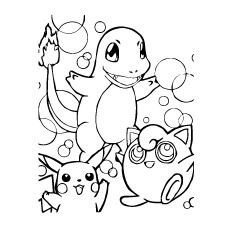 Pikachuand Charmander Coloring Pages