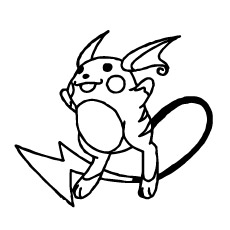 Raichu Character from Pokemon Coloring Page