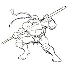 TMNT Donatello with Weapon Bo Coloring Page