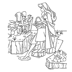 Princess Aurora Talking To Rabbits And Squirrels Coloring Sheet