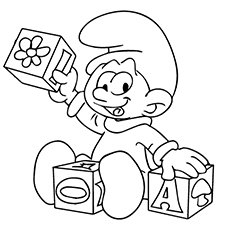 smurf learning building block letters coloring page