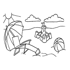 Beach Umbrella And Ball Coloring Pages