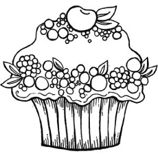 the berry cupcake - Cupcakes Coloring Pages