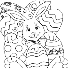 Bunny and Easter Eggs Coloring Pages
