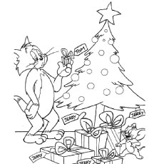 Tom During Christmas Time Coloring Pages
