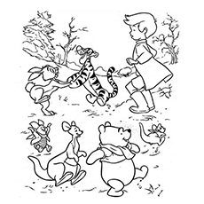 winnie and friends playing with christopher robin coloring page - Pooh Coloring Pages