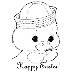 Cute Chick Wishing Happy Easter Printable Coloring Pages