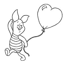 Cute Piglet Holding the Heart Balloon in Hand Coloring Page