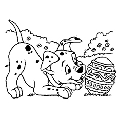 dalmatian and easter egg disney characters having fun on easter day coloring pages free