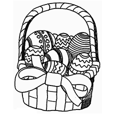 Coloring Pages Of Easter Basket With Eggs In It