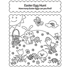 easter egg hunt picture coloring page - Free Easter Coloring Pages