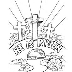 Easter Marks As He Is Risen Coloring Pages
