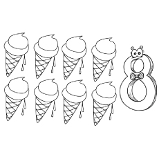 the eight ice creams color - Number Coloring Pages