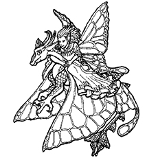 elf on a dragon fairies on an apple tree coloring pages - Coloring Pages Dragons Fairies
