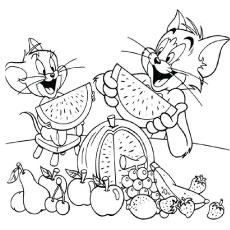 Printables of Tom and Jerry Eating Fruits Coloring Pages