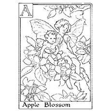 Fairies On An Apple Tree Coloring Pages