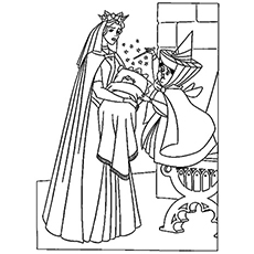 Fairy Blesses Baby Aurora at Birth Coloring Page to Print Free