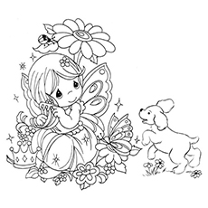 printable fairy and her pet coloring page - Free Fairy Coloring Pages