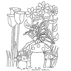 Fairy Perched Sitting On Mushroom And Playing Flute Coloring Pages