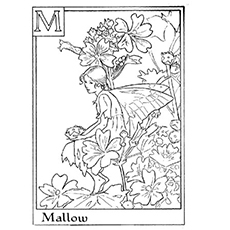 coloring pages of mallow fairy among flowers - Fairies Coloring Pages