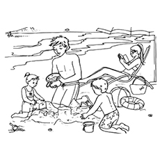 Family At A Beach Trip Coloring Pages