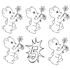 the five cute teddies color - Number Coloring Pages