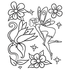 flower fairy smelling it three flying fairies coloring pages printable
