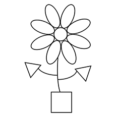 simple diamond shape shapes of flower and pot coloring pages