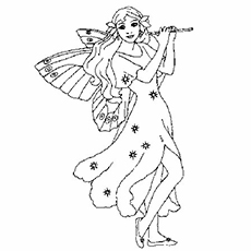 fairy playing flute coloring page - Fairy Coloring Page