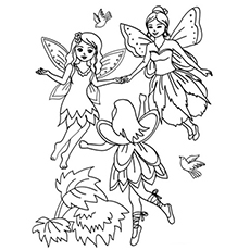three flying fairies little cherubs fairy coloring page