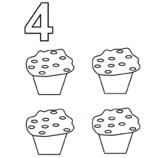 the four lovely cakes - Number Coloring Pages