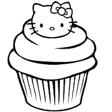 the hello kitty cupcake - Cupcakes Coloring Pages