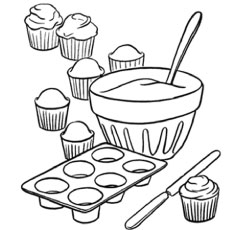 the how to make cupcakes - Coloring Pages Of Cupcakes