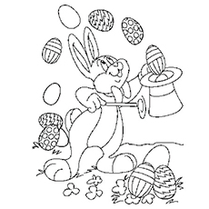 Coloring Page Of Juggling Easter Eggs