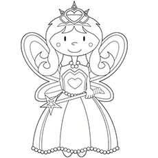 coloring sheet of little angel fairy - Free Fairy Coloring Pages