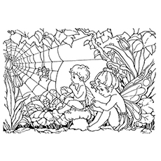 Little Cherubs Fairy Coloring Page to Print Free